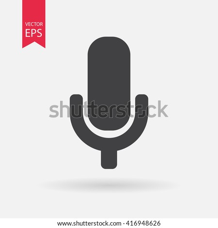 Microphone icon vector, Sound recording concept. Voice sign isolated on white background. Trendy Flat style for graphic design, Web site, UI. EPS10