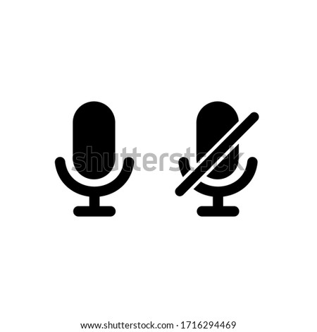 Microphone icon with turn off microphone for device simple design