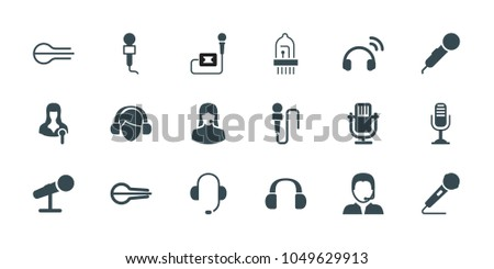 microphone icons set of 18
