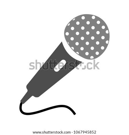 Microphone illustration. vector music sign - mic symbol, voice record icon