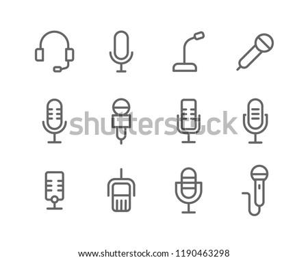 Microphone lines icon set