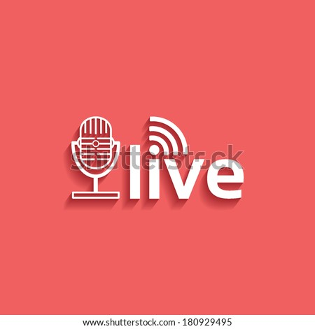 microphone, live, flat icon isolated on a red background for your design, vector illustration