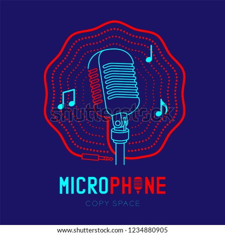 Microphone logo icon outline stroke with music note in wave frame from cable dash line design illustration isolated on dark blue background with Microphone text and copy space, vector eps 10