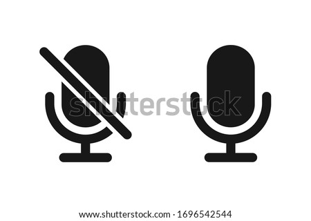 Microphone muted and unmuted icon set, Classic mic shape