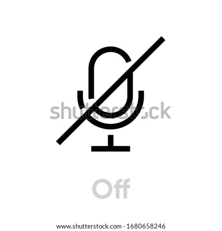 Microphone Off icon. Editable Line Vector. Symbol Single Pictogram muted sound on white background.