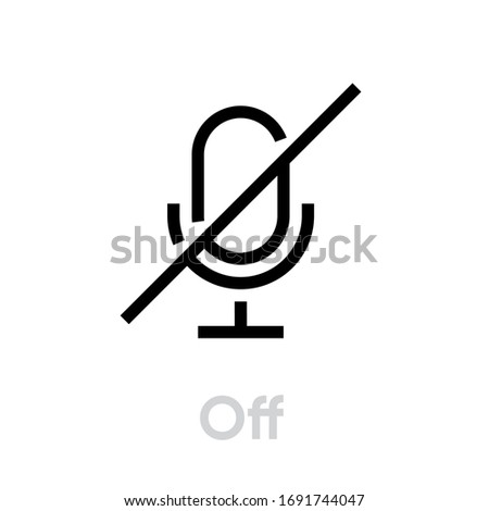 Microphone Off icon. Editable Vector Outline. Flat sign Microphone muted for website and mobile app. Single Pictogram.