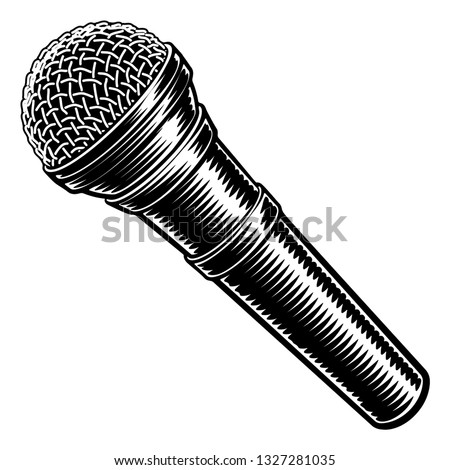 Microphone or mic in a vintage intaglio woodcut engraved or retro propaganda style Stockfoto ©