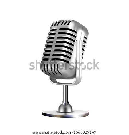 Microphone Retro Vocal Radio Equipment Vector. Audio Microphone For Online Anchorperson Studio Or Karaoke Bar Device. Chrome Silver Color Concept Template Realistic 3d Illustration Stockfoto ©