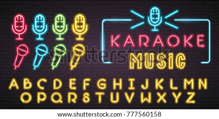 Microphone Set and Alphabet Yellow Colour Signs Neon Light Glowing Vector Graphic Illustration Bright. Luminous Signboard, Nightly Advertising. Editing Text Neon Sign Neon Alphabet