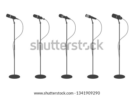 Microphone silhouettes. Standing microphones audio equipment. Concept and karaoke music mics vector isolated collection