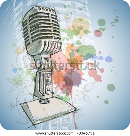 Microphone sketch & floral calligraphy ornament - a stylized orchid & color paint background. Eps10