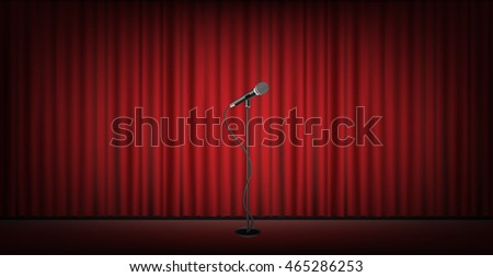 microphone stand on stage with...