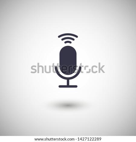 Microphone vector icon, Web design icon. Voice vector icon, Record. Microphone - recording Studio Symbol. Retro microphone icon