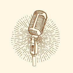 Microphone. Vintage style, hand drawn pen and ink.  Vector clip art. Retro design element for electronics store packaging, studio, disco or karaoke club, or t-shirt design