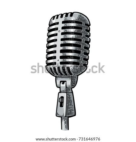 microphone. vintage vector...