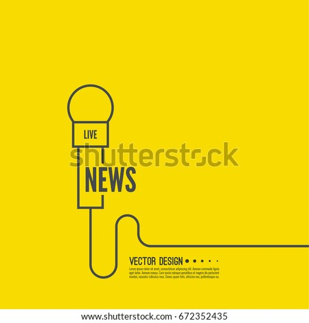 Microphone with a wire. Symbol breaking news on TV and radio.