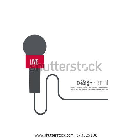 Microphone with a wire. Symbol breaking news on TV and radio. Live.