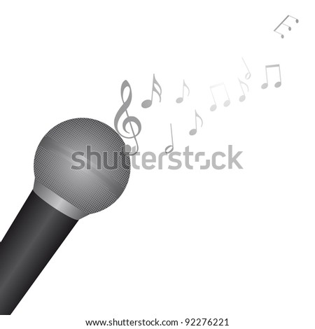 microphone with music notes over white background. vector