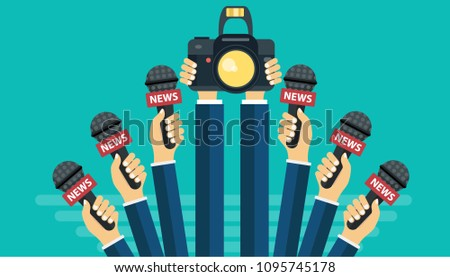 Microphones In Reporter Hands Set Of And Camera Isolated On Green Background Mass