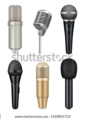 Microphones realistic. Professional media music studio equipment metal sound mic vector pictures. Illustration of mic and microphone for karaoke or media
