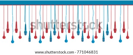 Microphones vector set in a flat style white isolated. Creative concept to illustrate an reportage, interview, karaoke, song, music. Facebook banner with red and blue microphones.