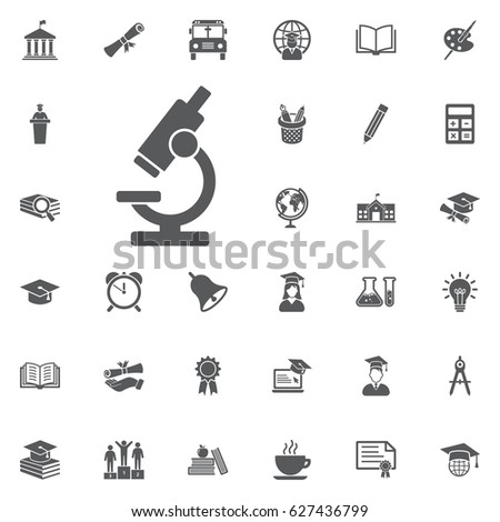 microscope icon on the white background. Education Vector Icon Set