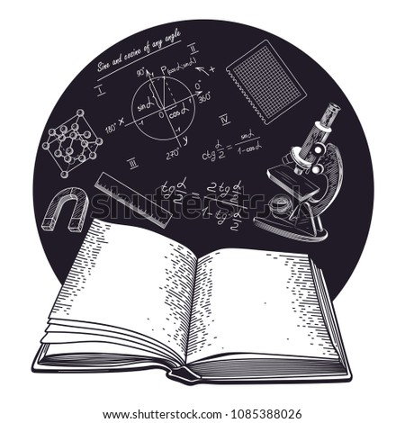 Microscope, trigonometric formulas, crystal lattice, magnet on the background of an open book. Vector illustration on educational subjects.
