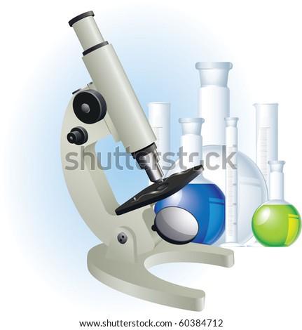 Microscope. Vector.