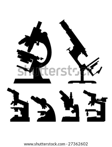 Microscopes in detailed vector silhouette - stock vector