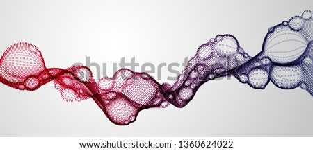 Microscopic biological mutation virus, abstract vector particles shape, nano medical technology, microbiology science fiction theme illustration.