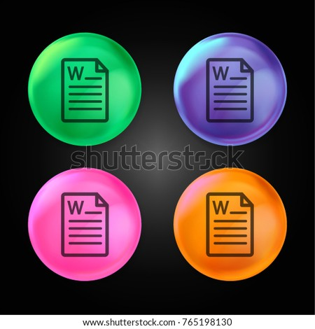 Microsoft word document file crystal ball design icon in green - blue - pink and orange.