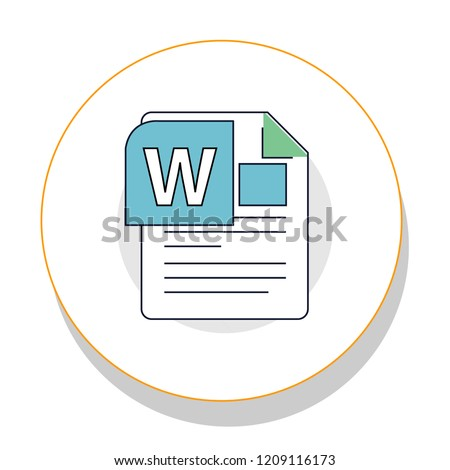 Microsoft word file trendy icon on white background for web graphic