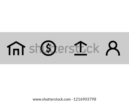 Microstock photography application icon vector collection, simple and flat design, minimalist style.