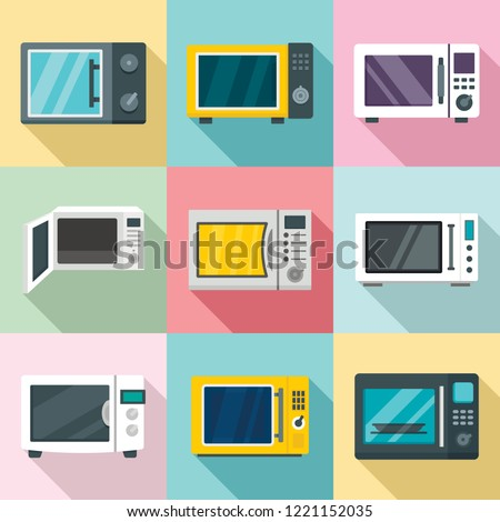 Microwave ovens icon set. Flat set of microwave ovens vector icons for web design