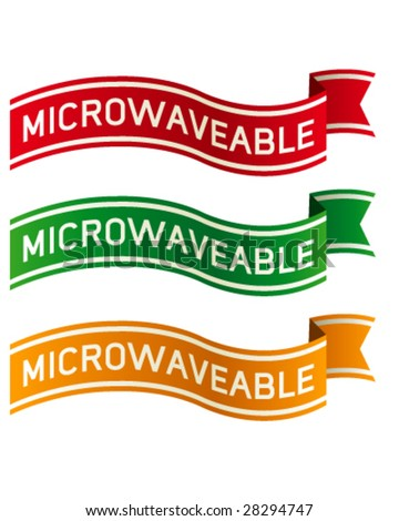 Microwaveable banners for food product packaging, print materials, and websites