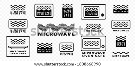 Microwaves flat linear icons set. Symbol for the safety of using cookware in a microwave oven. Label for the suitability of plastic utensils for safe heating and microwave cooking. Vector
