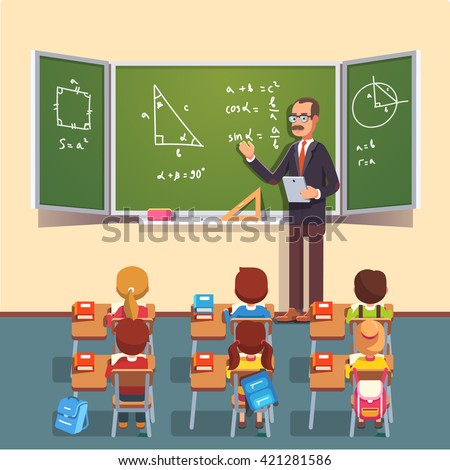 Mid age teacher man in glasses giving a trigonometry lecture on a chalkboard to a class of kids sitting at the school desks. Flat style color modern vector illustration.