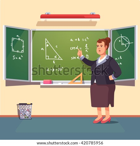Mid age teacher woman giving a trigonometry lecture on a class chalkboard. Flat style color modern vector illustration.