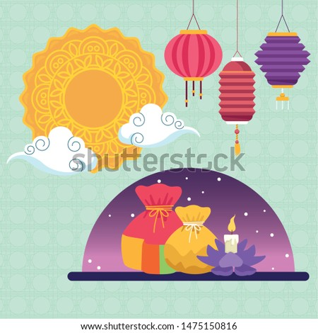 mid autumn chinese festival oriental card with oriental lanterns and mooncake cartoon vector illustration graphic design