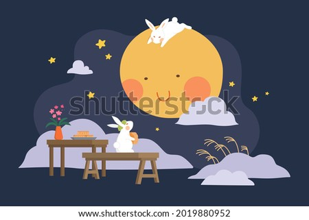 Mid autumn festival design. Flat illustration of jade rabbits eating mooncakes and watching moon as holiday celebrations