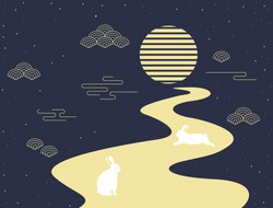 Mid autumn festival vector illustration with full moon and rabbits.
