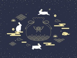 Mid autumn festival vector illustration with lucky pocket and rabbits.