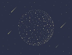 Mid autumn festival vector illustration with moon and shooting star.