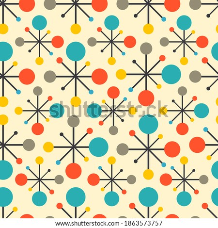 Mid century fifties modern atomic retro colors seamless vector pattern. Part of collection Foto stock ©