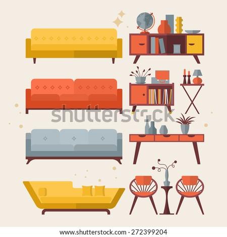 mid century furniture flat