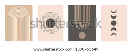 Mid Century Modern Art Print Set of 4, Neutral Beige Geometric Wall Art, Sun, Moon, Rainbow and Arch