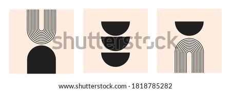 Mid Century Modern Art Print Set of 3, Neutral Geometric Wall Art, Rainbow elements Zdjęcia stock ©