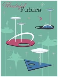 Mid Century Modern Art Style Illustration, Retro Future City Poster, Vintage Colors, Googie Architecture