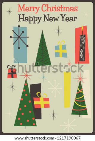 mid century modern merry christmas greeting card style