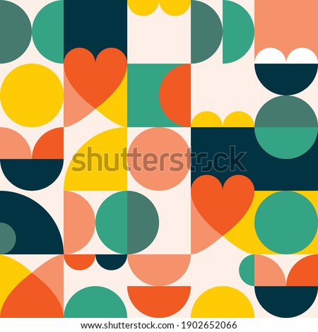 Mid-century modern 60's and 70's style vector seamles pattern - retro minimalist geometric textile or fabric print with hearts. Vintage style repetitive background, simple abstract wallpaper or poster Сток-фото ©